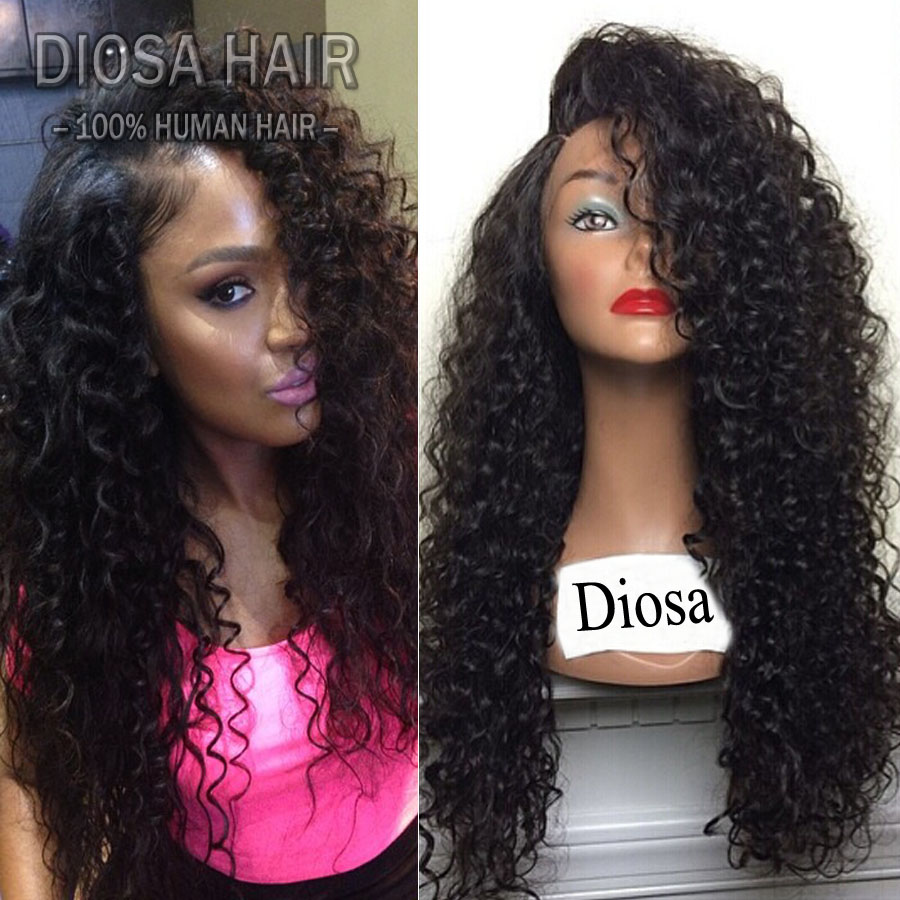 Kinky Curly Human Hair Wig Side Part Middle Part Lace Front Wig Kinky Curly Glueless Full Lace