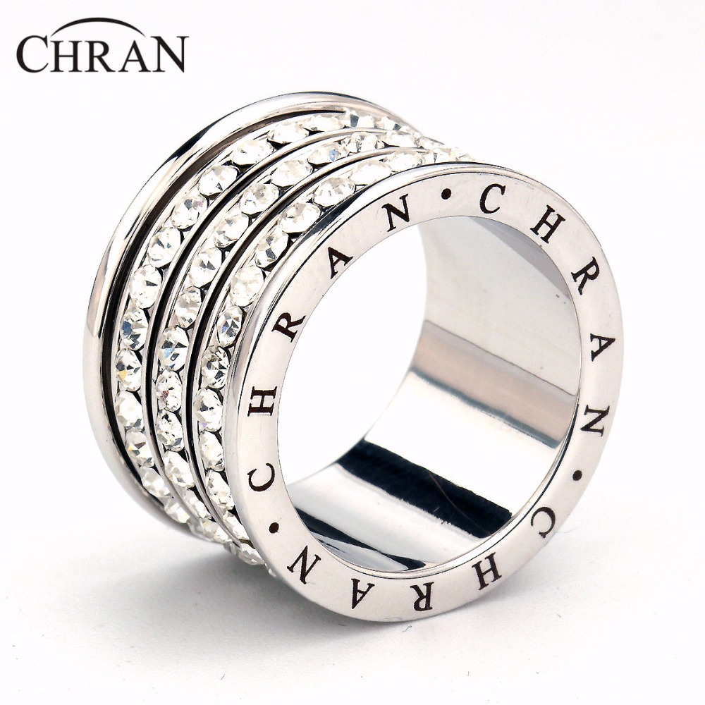 Chran Classic Silver Color 3 Rows Men Rings Promotion Costume Wedding  Jewelry Crystal Finger Rings For