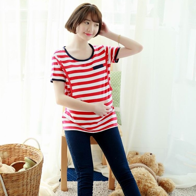 beb698a62dbcb New Useful Design Easy Breast Feeding T-shirts for Pregnant Women Green/  Red Striped
