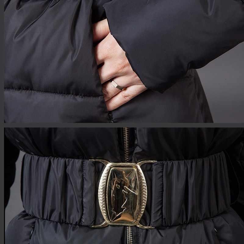 Màu đen Dài Mùa Đông Áo Khoác Nữ 2019 Mới Đội Mũ Trùm Đầu Bông Áo Ấm Xuống Bông Quân Sự Parka Nữ Mỏng Dây Kéo Outwear Okb88
