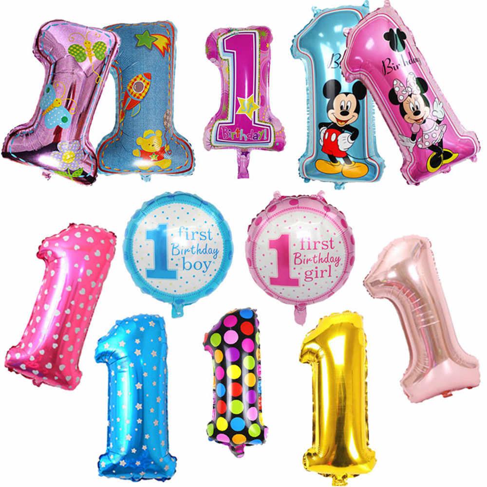 Taoqueen sombrero de dibujos animados bebé 1 Primer Cumpleaños niña niño globos niños un año de edad globo de cumpleaños láminas con números para globos fiesta Deco