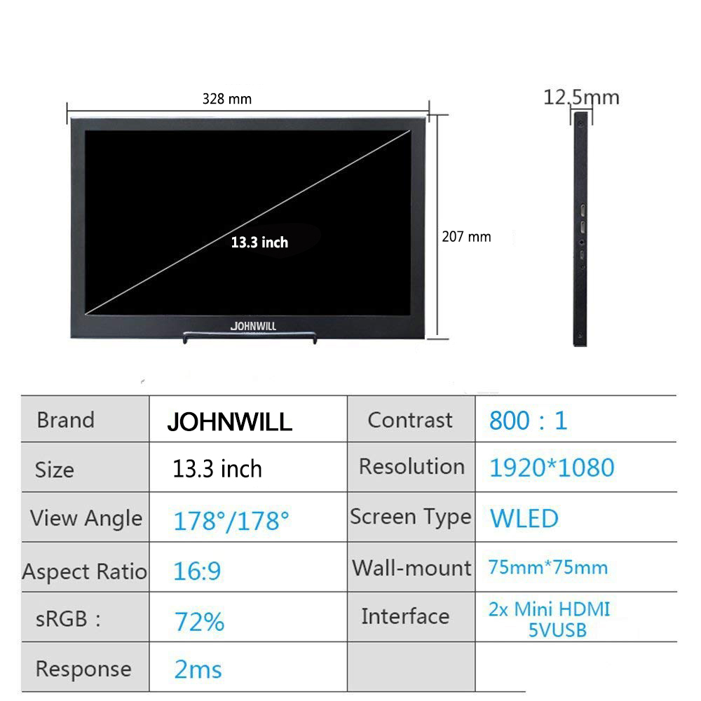 Nouveau 13.3 pouces 2K HD moniteur Portable écran tactile PC PS3 PS4 Xbo x360 1080P IPS écran LED lcd moniteur pour Raspberry Pi - 3