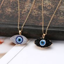 US $0.73 17% OFF|Blue Evil Eye Druzy Stone Pendant Necklace Natural Quartz Geode Crystal Jewelry-in Pendants from Jewelry & Accessories on AliExpress - 11.11_Double 11_Singles' Day