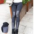 Mulheres Inverno Leggings Footless Leggings de Retalhos de Couro Preto de Lã Quente Espessamento Calças Lápis Botas Calças DD8263