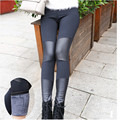 Women Winter Leggings Leather Patchwork Black Warm Fleece Footless Leggings Thickening Pencil Pants Boots Trousers DD8263
