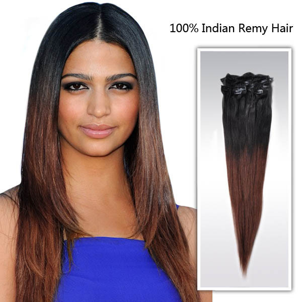 Free Shipping 20inch Ombre Straight Hair Extension Easy Wear Clip In