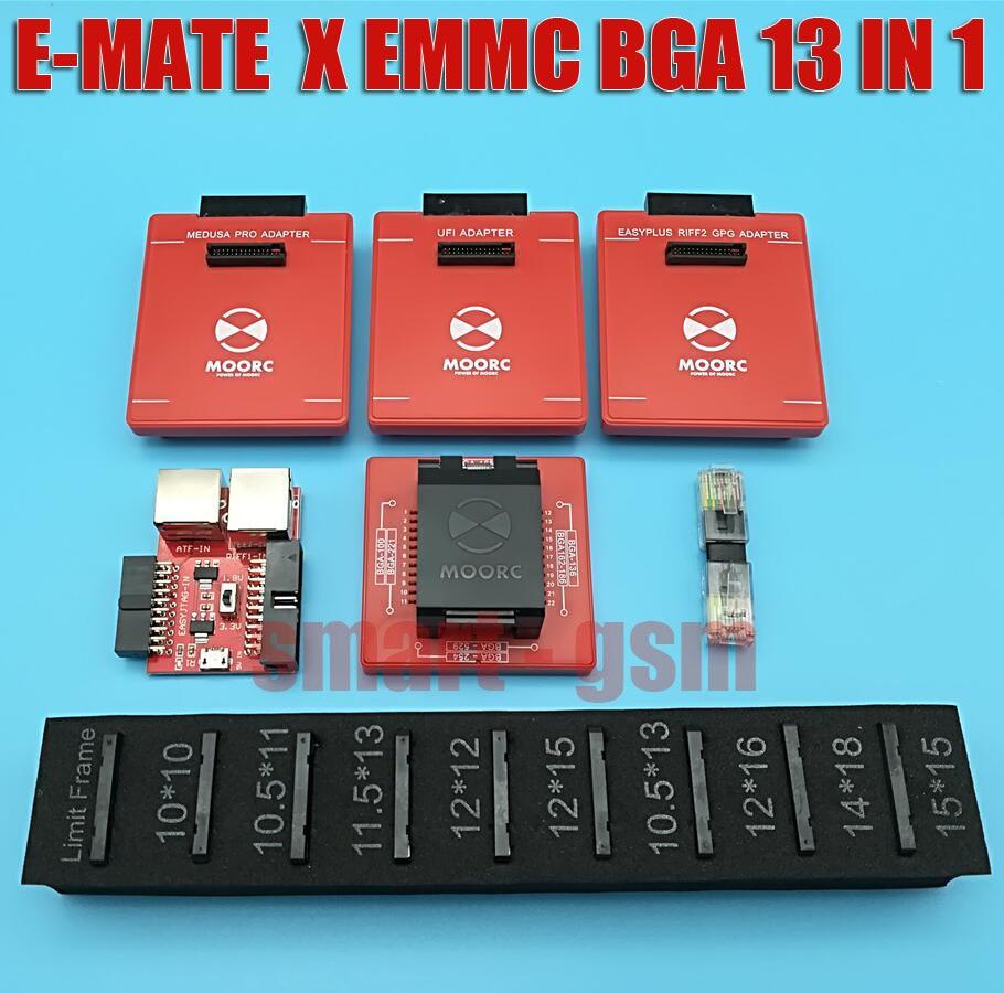 2019 MOORC E MATE E MATE X E MATE PRO BOX EMMC BGA 13 IN 1 SUPPORT 100 136 168 153 169 162 186 221 529 254 EASY JTAG PLUS BOX in Telecom Parts from Cellphones Telecommunications