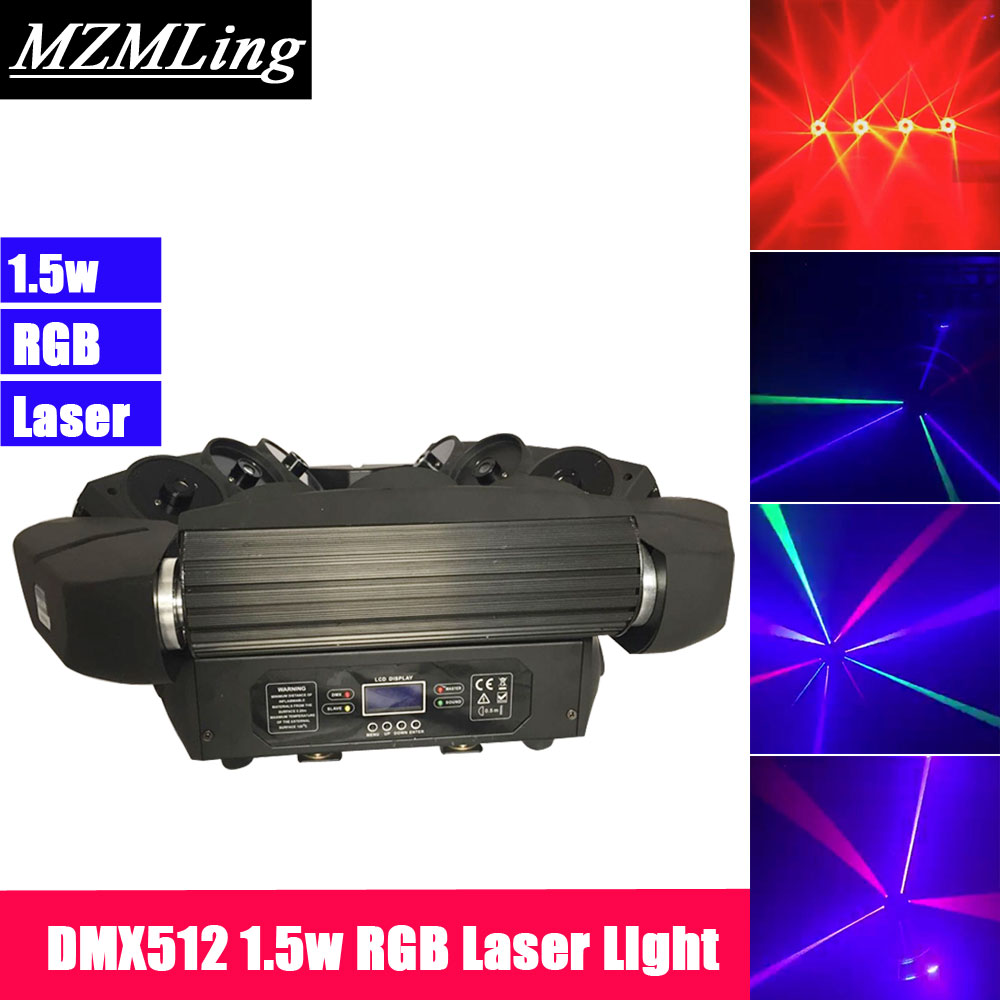 Super 1.5w RGB Laser Light DMX512 Spider Beam Light Moving Head Light DJ /Bar /Party /Show /Stage Light LED Stage Machine mini laser light r g color stage light dj bar party show stage light led stage machine