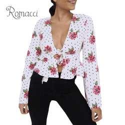 Новая Сексуальная женская укороченная блузка с цветочным принтом в горошек с длинным рукавом бандажные рубашки для женщин Винтажная