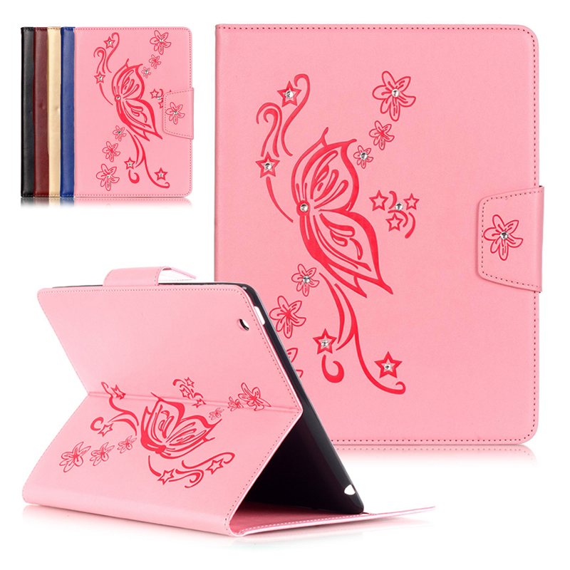 for ipad 2 3 4, High Quality Pink flower bling covers Design Stand Magnetic PU Leather Case Tablets for ipad 4 3 2 Smart Covers high quality 2size butterfly flower forming follow board easy magic making template mould for fabric flower design tool