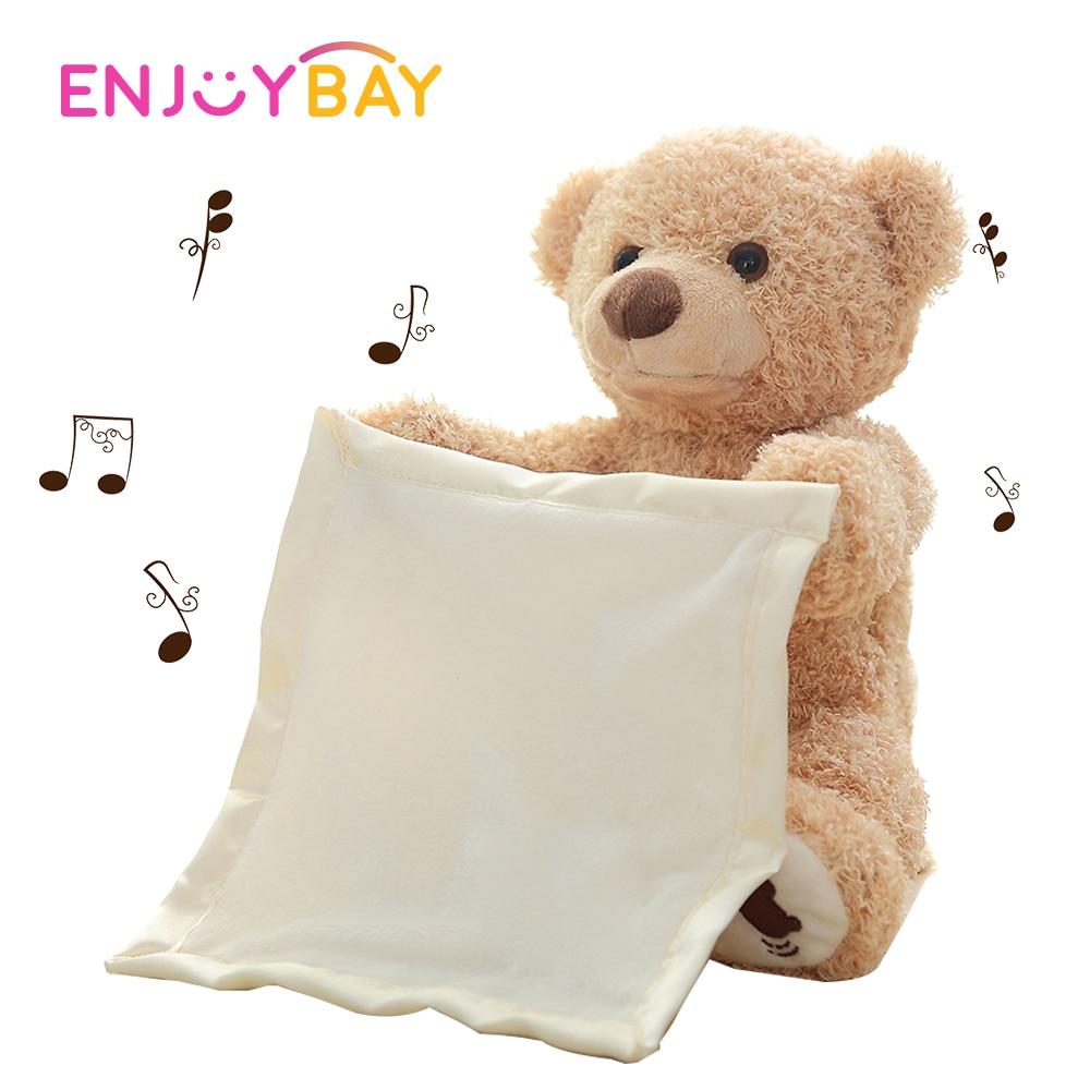 Enjoybay Peek A Boo Talking Teddy Bear Play Hide Seek Stuffed Toys Cute Cartoon Animal Toy Electric Music Toy Gifts For Children