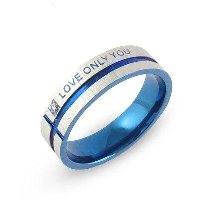 Stainless Steel Wedding Bands Blue Couple Rings Korean