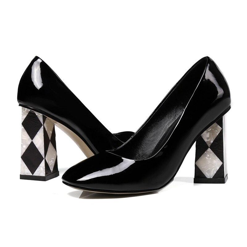 Asumer Bombas Baile Mujeres Negro Moda Mujer Gruesos Zapatos púrpura Toe Interior De Cuero Negro Rojo Boda rojo Tacones rrq0Yw7