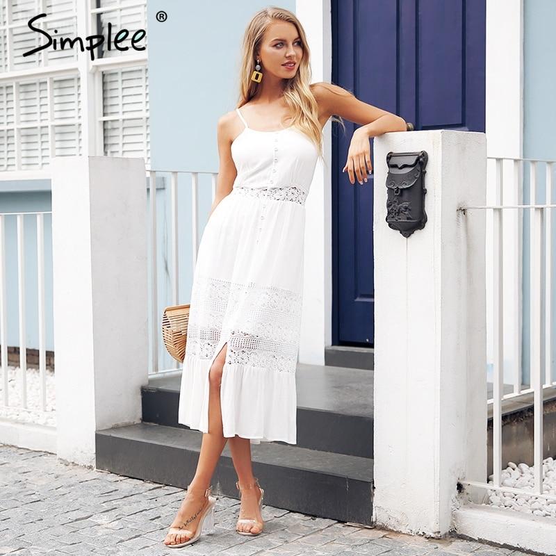 Simplee ремень выдалбливают Белое Кружевное платье женские пикантные спинки Лук летнее платье длинные уличной и пуговицы повседневные платья ...