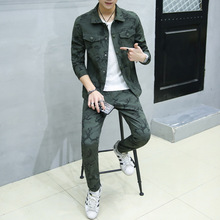 Spring The New Men's Fashion Design Personality Camouflage Tracksuit Leisure Plus Size Mens  Suits Jacket And Pants