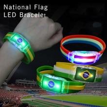 Кубок мира Россия Национальный флаг светодиодный браслет светящиеся часы Бразилия США Испания Футбольная команда Cheer Реквизит вечерние украшения