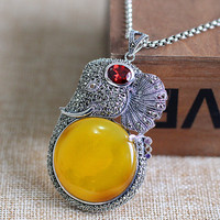 Ms Character Silver Sterling Silver Decoration Atmosphere Sweater Canary Stone Elephant Pendant