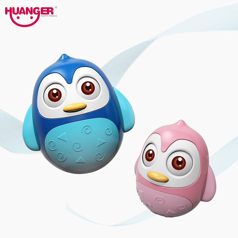 Cartoon Tumbler Doll Baby Toys Cute Rattles Ring Bell Penguin Tumbler Baby Toy