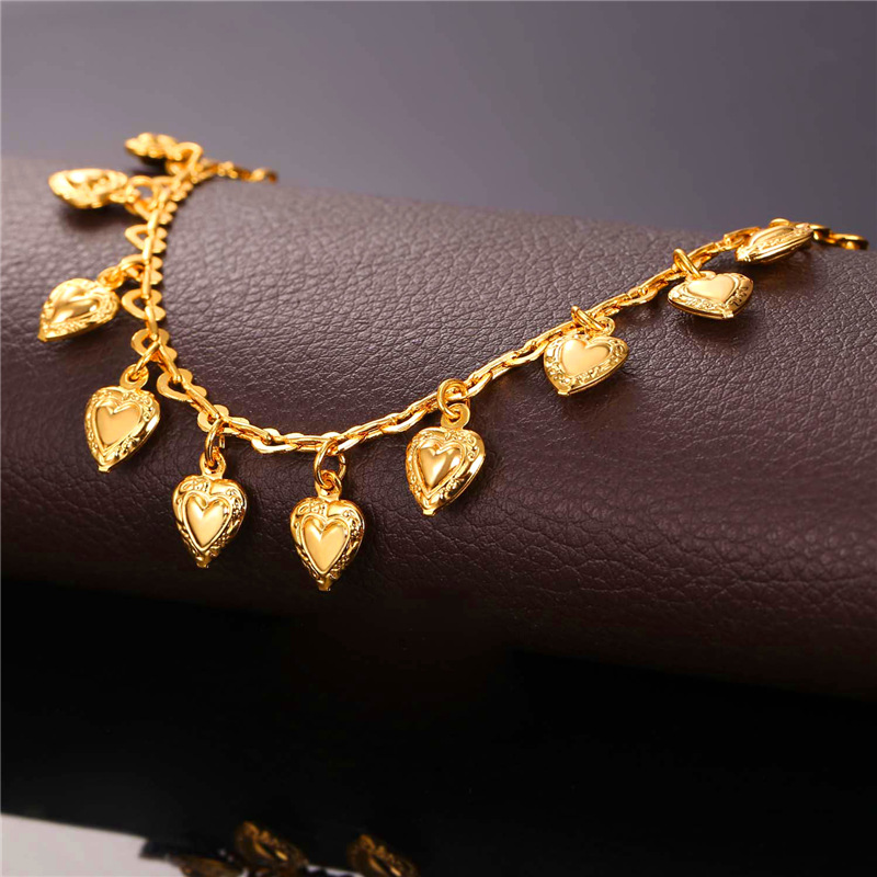 U7 Heart Charms Ankle Bracelet On Leg Gold Color Summer Jewelry Wholesale Anklet Bracelet Foot Jewelry For Women Gift A318 1