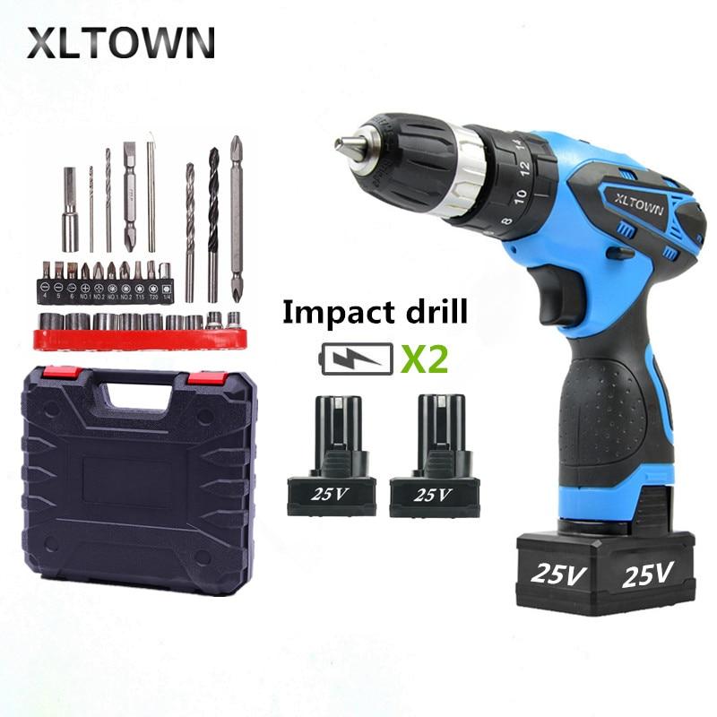 Perceuse à percussion XLTOWN 25 V avec batterie Rechargeable au Lithium 2 tournevis électrique multifonction avec forets