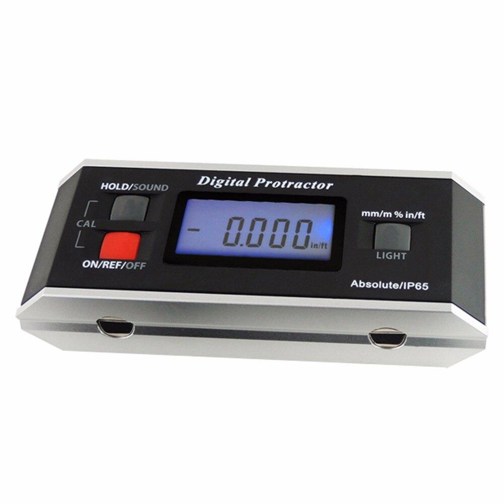 Angle Finder Digital Protractor w Backlight Alarm Magnetic V Groove Gauge Level Inclinometer