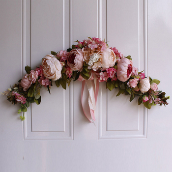 Rose Peony Artificial Flowers Garland European Lintel Wall Decorative Flower Door Wreath For Wedding Home Christmas Decoration