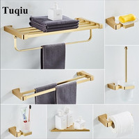 Fashion Brushed Gold Solid Brass Material Bathroom Accessories Bathroom Hardware Set Robe Hook Towel Rail Rack Bar
