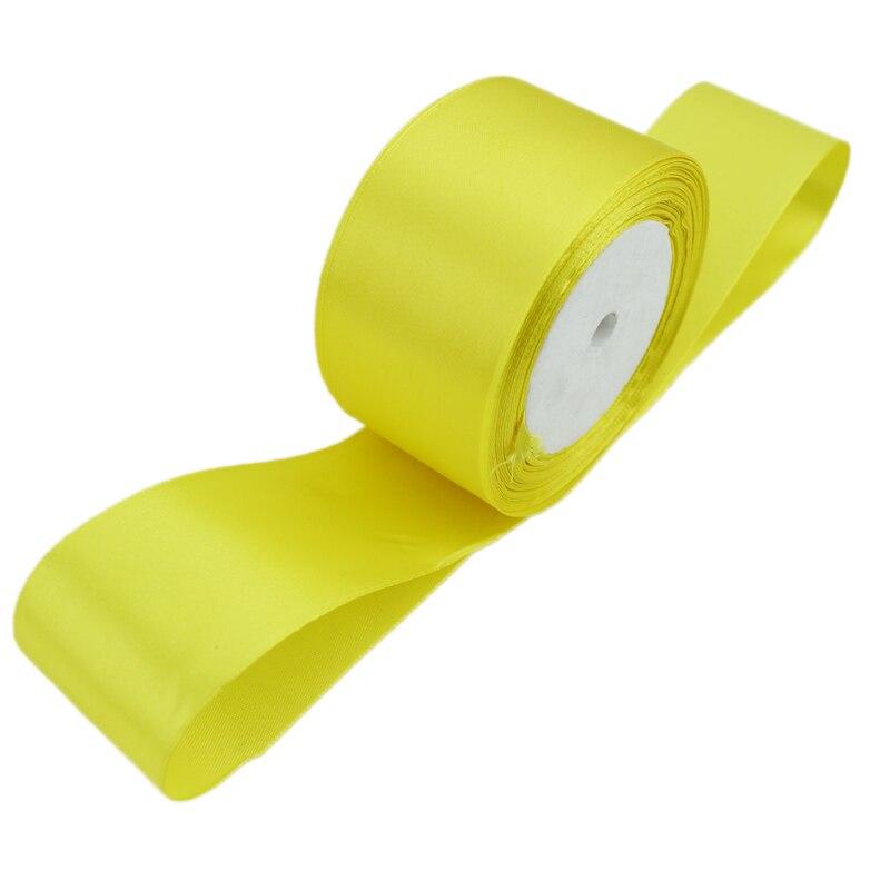 (25 ярдов/рулон) 2 »(50 мм) желтый одно лицо атласной лентой лямки украшения подарок Рождество лентами