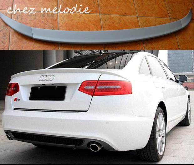 ABT Style 3pcs primer grey unpainted PU sports Car Rear Trunk Spoiler Wing For Audi A6L 2005-2013, no drilling needed pu rear wing spoiler for audi 2010 2011 2012 auto car boot lip wing spoiler unpainted grey primer