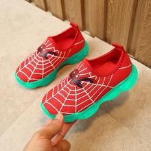 Children Nightlight Running air mesh sneakers Shoes kids Fluorescent Spider-Man