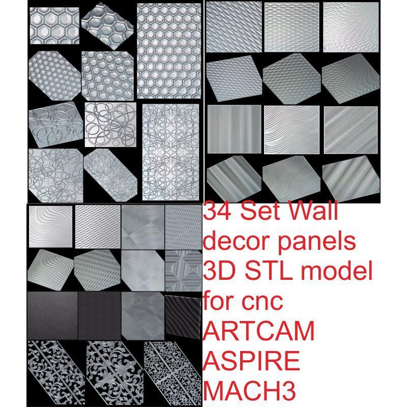 Купить с кэшбэком 34pcs/set Wall decor panels 3D STL model for cnc ARTCAM ASPIRE MACH3