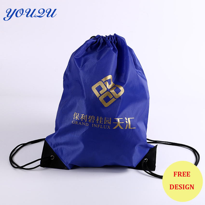 Custom 210D Polyester Silk Screen Printed Drawstring Bags Black Drawstring Backpack Bag