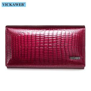 Image 2 - VICKAWEB cartera pequeña de piel auténtica de cocodrilo para mujer, monedero pequeño, monedero con cerrojo, a la moda