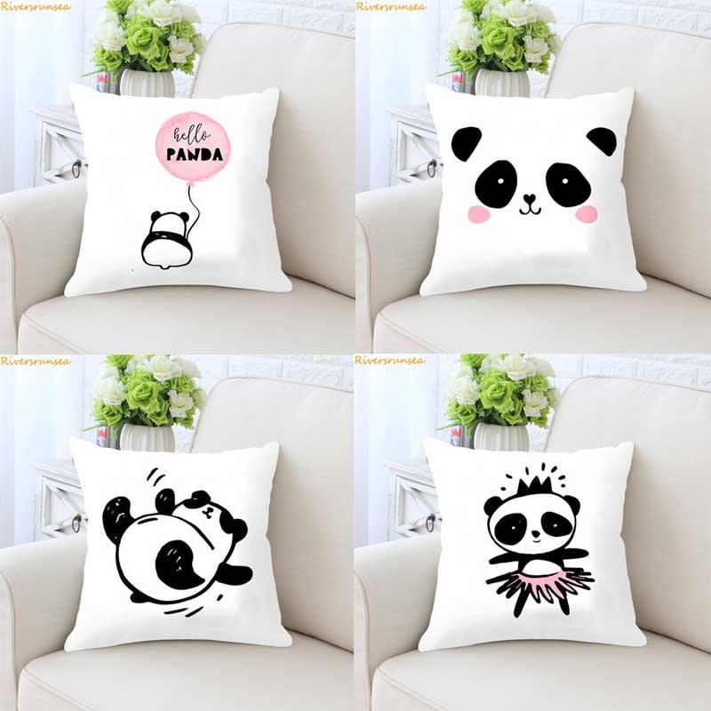 Cute Pink Black Panda Cushion Printed Family Sofa Car Seat Family Home Decorative Throw Panda Pillow Coussin Almofada Drop Ship