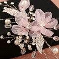 Alta calidad Hecha A Mano rosa de encaje de flores nupcial accesorios para el cabello hechos a mano horquilla al por mayor de joyería de perlas de boda de la vendimia