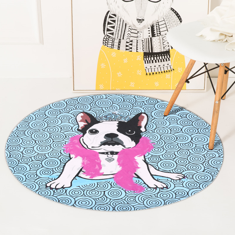 Cute Dog Big Round Carpets For Living Room Bedroom Rugs And Carpets Non -Slip Chair Floor Mat Kidsroom for Kids Play Mats