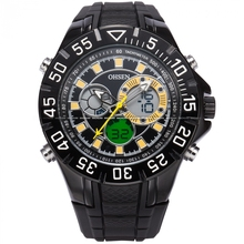 OHSEN Oversized Yellow Dual Time Zone Date Alarm Stopwatch Quartz Rubber reloj hombre Men Running Digital Sport Watches /OHS229