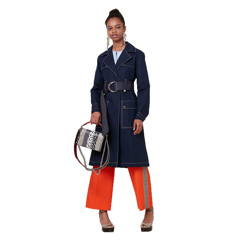 Navy blue long sleeve notched collar top stitch   trench   coats women ladies autumnstylish belted midi-calf coats with pockets