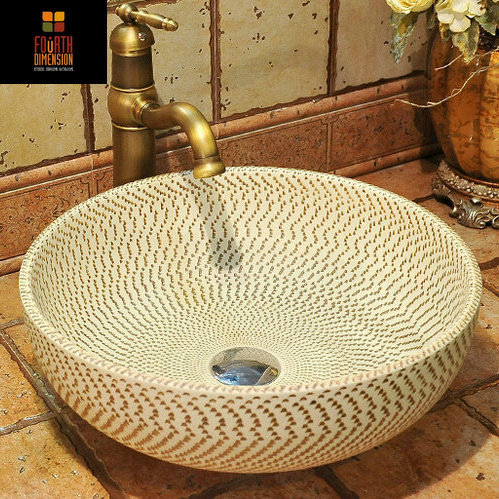 Modern Brief Style Moire Artistic Engraving Round Bowl Sink Countertop Bathroom Sinks Wash Basin China