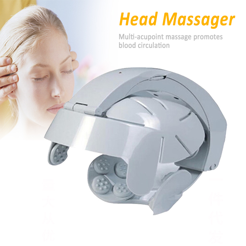 Electric Head Massager Helmet Scalp Brain Relax Vibration Acupuncture Points Health Care Promotion Price relax acupuncture points electric head massager for health care relaxation head acupoint massage free shipping