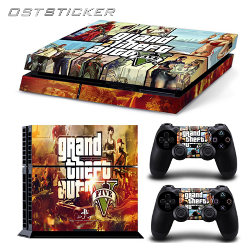 30% off OSTSTICKER Vinyl High-quality Cartoon Game GTA For Sony Playstation 4 Console+2 controller Skin for PS4 Stickers