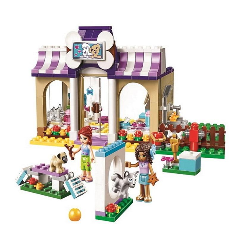290Pcs DIY Playmobil Model Friends Series Heartlake Puppy Daycare Set Building Blocks Bricks Girls Toys For Children gifts 41124