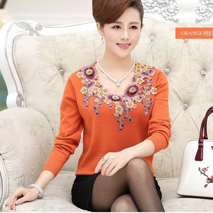 Quinquagénaire femmes automne mère vêtements pull 40-50 moyen-age chandail basique chemise de grande taille à manches longues haut