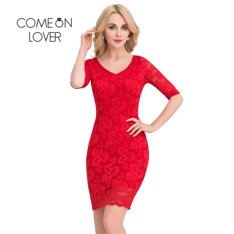 VI1061 Comeonlover Vestidos De Festa letní šaty 2017 Dámské oděvy Midi šaty Bodycon Plus Velikost S hlubokým výstřihem Party Krajkové Šaty