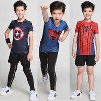 High Quality Compression T Shirt For Kids Batman Spiderman Ironman Superman Avengers Superhero Children Short Sleeve