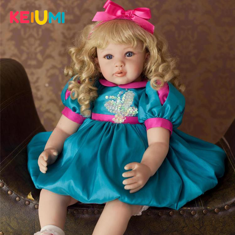 KEIUMI 22 Inch Reborn Baby Alive Doll Soft Silicone 55 cm Lifelike Princess Doll Baby Toy Wear Blue Dress Child Birthday Gifts keiumi 22 55 cm realistic baby alive boy doll soft silicone vinyl lifelike reborn doll toy for toddler birthday xmas gifts
