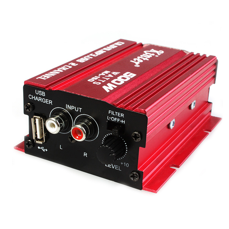2 Channel 12V Red Hi Fi Mini Car Stereo Audio Amplifier ...