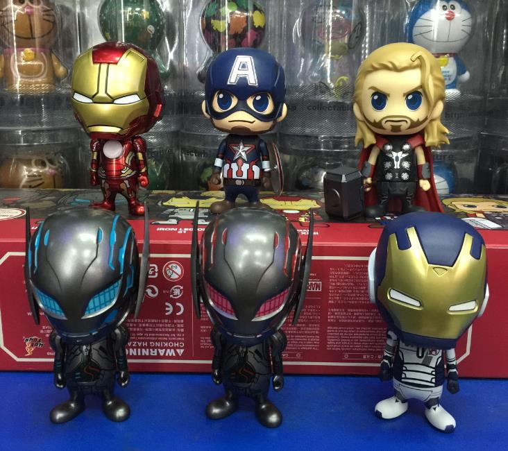 <font><b>HotToys</b></font> Avengers 2 Age of Ultron <font><b>Thor</b></font> Iron Man Captain America Q Version PVC <font><b>Action</b></font> <font><b>Figures</b></font> <font><b>Collectible</b></font> Toys 6pcs/set