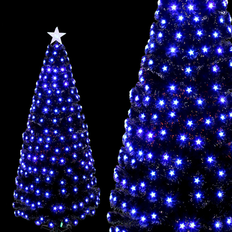 1.8 m/180 cm volledige blauw pentagram Kleurrijke LED kerstboom ...