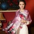 100% Flor Moda Impreso Bufanda de Seda Pura Bufandas de Seda Naturales chal Chales de Protección Solar de Grado Superior de Gran Tamaño 175 cm x 52 cm FS003